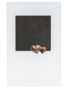 "Placheta piatra si sticla ""Doua inimi"" bronz masiv"