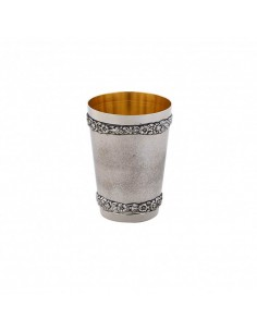 Pahar argint masiv placat cu aur Flower