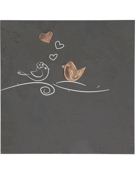 "Placheta ""Lovebirds"", piatra si bronz masiv"