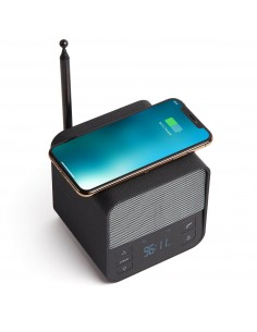 Radio cu ceas, bluetooth si incarcator wireless Oslo News dark