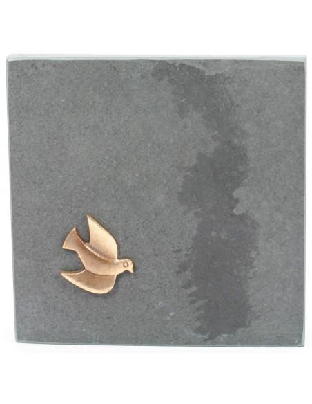 """Placheta """"Porumbel"""" piatra, bronz masiv"""