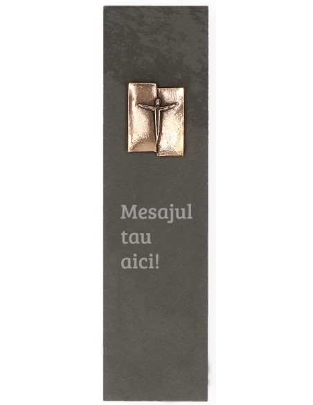 "Placheta piatra ""mesaj crestin"" bronz masiv"