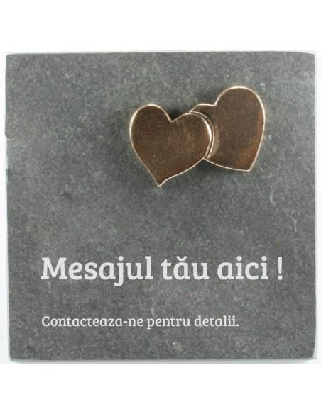 """Placheta piatra """"Inimi"""" bronz masiv"""
