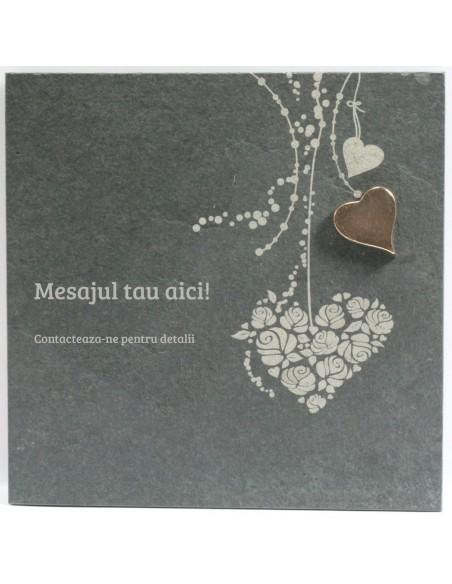 """Placheta piatra """"inima"""" bronz masiv"""