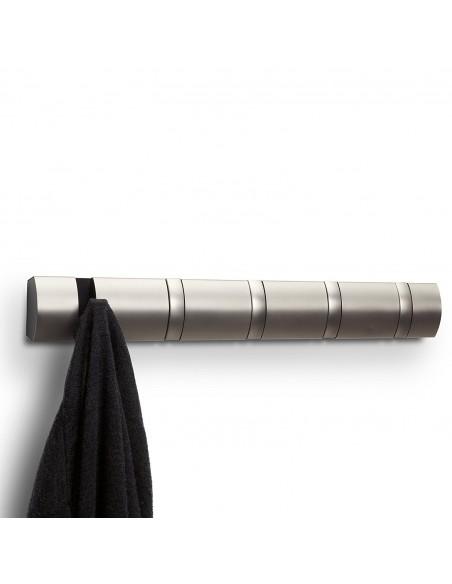 Cuier cu 5 carlige rabatabile Umbra Flip nikel