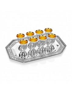 Set tava cu 8 pahare argint masiv Poppy placate cu aur