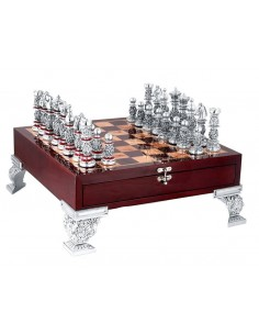 Set de sah argint si lemn Royal