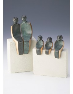 Statueta bronz Familie cu trei copii