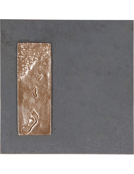 "Placheta ""Urme pe nisip"", piatra si bronz masiv"